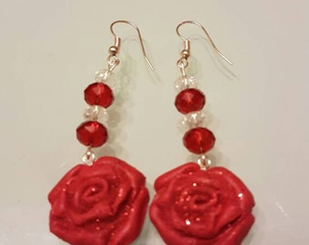 Polymer clay earrings and crystals