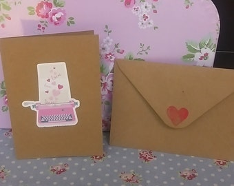 pink vintage typewriter greetings card
