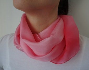 Silk scarf, hand painted silk scarf, long scarf, red and pink scarf