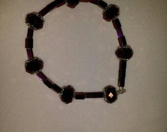 "7"" purple bead bracelet"