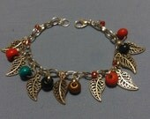 Berries and Leaves Charm Bracelet with Painted Wooden Beads, Glass Seed Beads and Silvertone Leaves