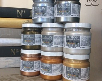 Fusion Mineral Paint Metallics - 7 Waterbased iridescent colours, No VOC and Eco Friendly Furniture Paint - 250 ml