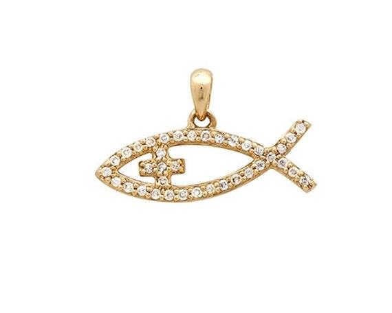 Christian fish necklace diamond fish pendant gold jesus fish for Christian fish necklace