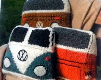 Split Window Volkswagen Camper Van Cushions Knitting Pattern