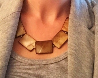 Brown shell statement necklace, shell bib necklace, gold bib necklace