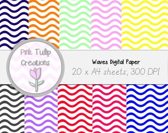 A4 Clip Art Backgrounds- Waves x 20