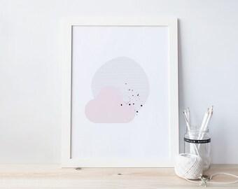 Dreaming Art Print - Digital Print - Pink