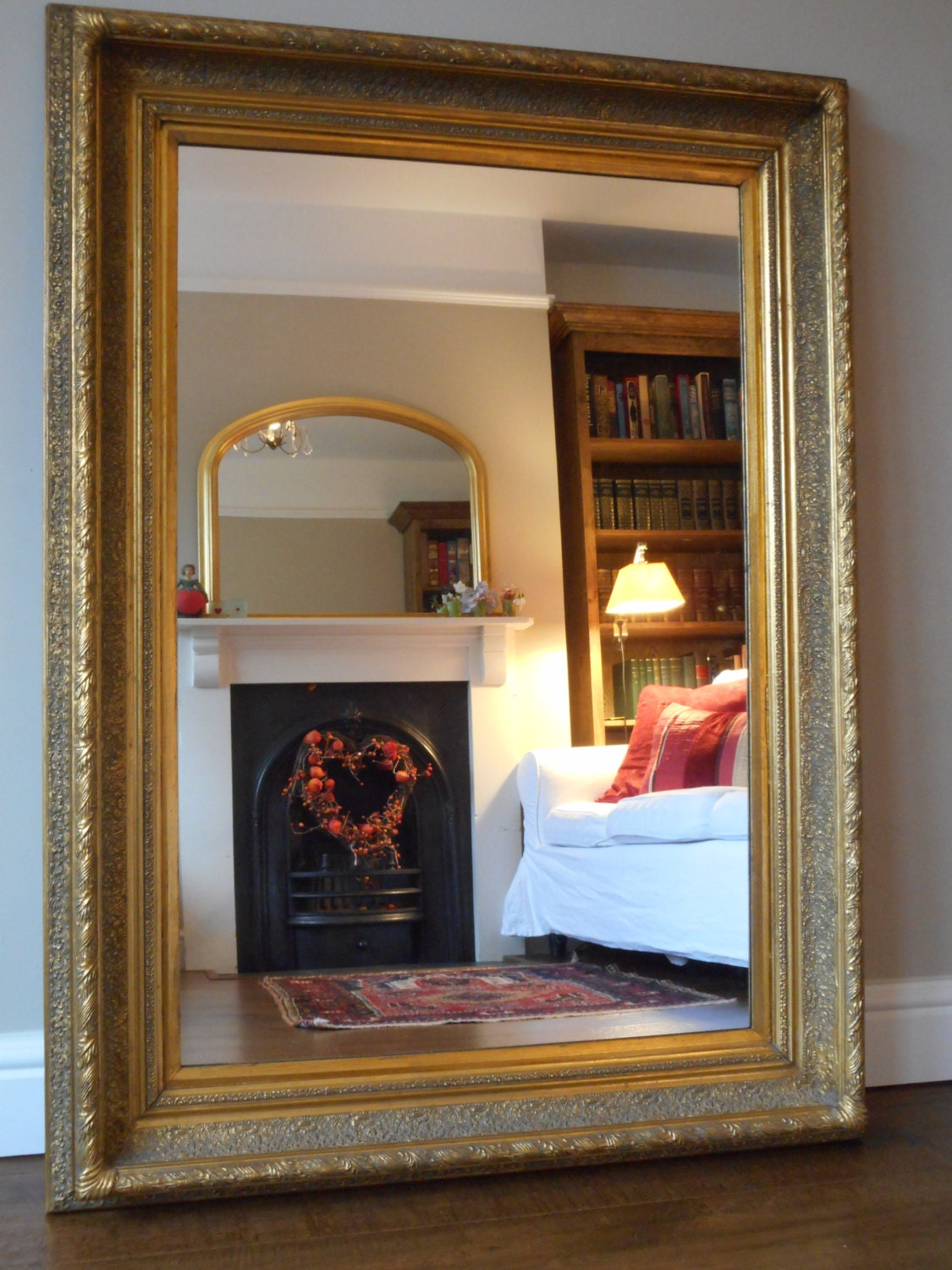 Antique style large gilt frame wall mirror by consort pictures for Antique style wall mirror