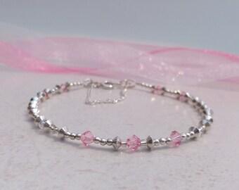 Rose Pink Swarovski Crystals and Beads Bracelet, Pink Crystal Bracelet, Crystal Bracelet, Silver Bead Bracelet