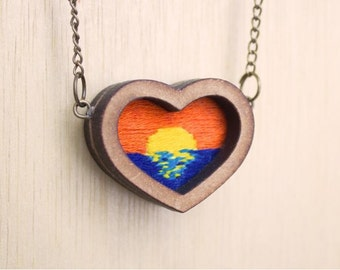 Miniature Hand Embroidered Sunset Pendant Necklace