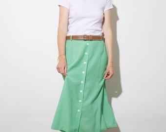 Vintage 80s gingham print skirt / leather belt included