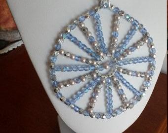 ab crystals celedte powder with beads for this unique pendant RADIUS 15 cm diameter