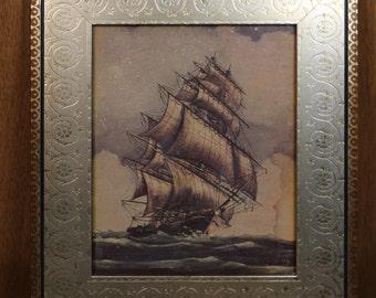 Vintage Print of Tall Sail Ship Reframed