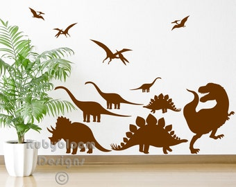 Dinosaur Cut & Place Wall Sticker Pack, T-Rex Triceratops Pterodactyl Stegosaurus - Boys Art Vinyl Decal Transfers - by Rubybloom Designs