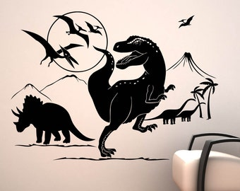 Dinosaur World - T-Rex, Triceratops, Pterodactyl, Diplodocus - Childrens Boys Art Decal, Vinyl Wall Stickers - by Rubybloom Designs