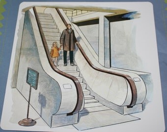 VintageDouble-Sided Large Flash Card - Daughter and Father - Escalator - 1960's