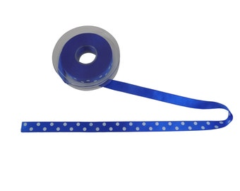 Classic Royal Blue White Polka Dot Ribbon 15mm *4 Lengths*