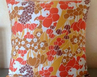 Vintage 70s retro pillow cushion cover - orange brown yellow daffodil fabric - VW campervan caravan