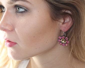 Pink Sunflower Swarovski Earring