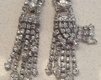 MOD, MOD, MOD ... Circa the 70's, Chandelier Rhinestone Drop Earrings
