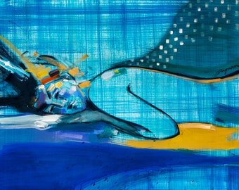 Printable artwork, painting, woman, sleeping, abstract