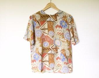 Vintage silk blouse top shirt short sleeve