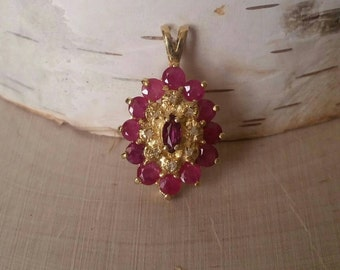 Vintage ruby and diamond pendant 14K yellow Gold Ruby necklace July Birthstone