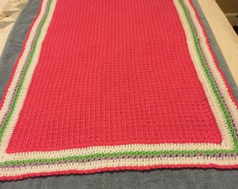 Bright pink and lavender tulip baby blanket