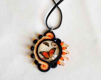 Soutache Pendant Orange Butterfly Long Necklace