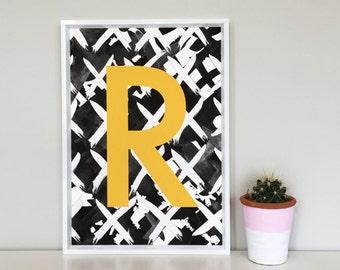 Initial Print, Letter Art, Monochrome
