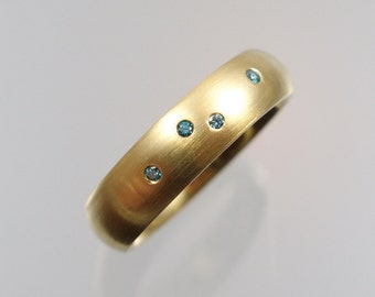 585 gold ring with 4 blue diamonds Gr. 55 gold unique forged master work