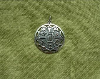 Buddhist pendant. Handmade. Avalokiteshvara. Om mani padme hum. Tibetan mantra. Chenrezi. Buddhism Mandala. Dzogchen. Lotus. Vajrayana