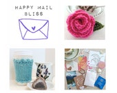 Happy Mail Bliss - Crochet or Knit Gift, & Happy Things! For You or a Friend! Gift Idea, Crochet, Knit, Gift, Bunting, Paper, Confetti, Fun!