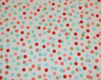 Confetti Dots Fabric, Aqua Coral Gold Polka Dots, Fabric by the yard, Fat Quarter, Quilting Fabric, Apparel Fabric, 100% Cotton Fabric, D-5
