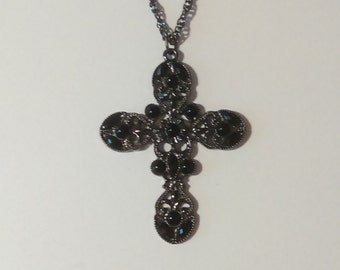 20in Black Cross Necklace