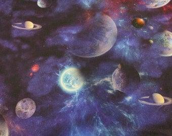 cotton fabric digital print universe planets stars