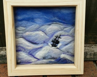 Stormy Seas.  Needle felted picture, framed, wool.