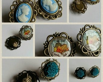 3 pairs of vintage style earrings with butterfly backs