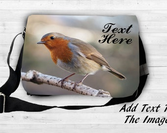 Personalised Red Robin Nature Wild Life Bird Shoulder Festival Laptop Bag