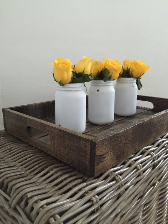 Reclaimed wood serving tray or centerpiece dark rustic