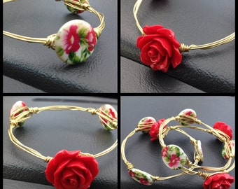 Red Rose Bangle Set / Mother's Day / Valentine's Day / presents / jewelery / bracelets / wife / daughter / mom / bridesmaids gifts