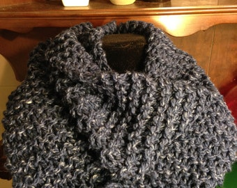 Handmade Knit Denim Blue Infinity Scarf