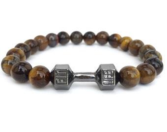 GOOD.designs fitness Beads Bracelet dumbbell Tiger eye black pearl bracelet dumbbell motivation