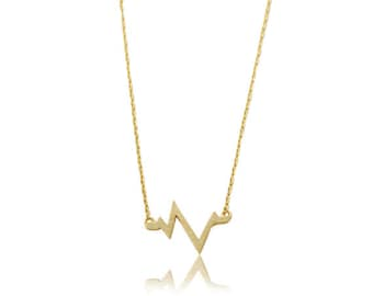 Necklace gold plated heart beat 18 k shipping