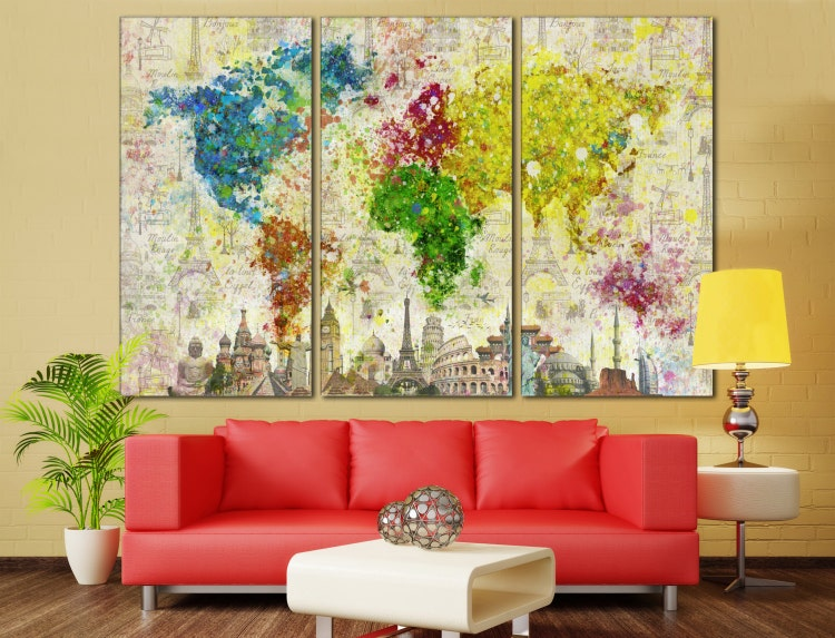large world map canvas print wall art 13 or 5 panel by zellartco. Black Bedroom Furniture Sets. Home Design Ideas