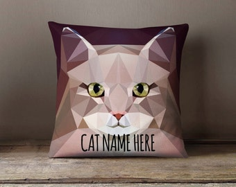 Personalized Geometric Siberian Cat Pillowcase | Decorative Throw Pillow Cover | Cushion Case | Designer Pillow Case | Gift for Pets Lovers
