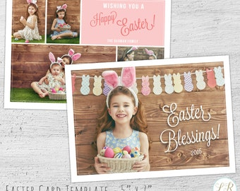 Easter Photo Card, Photoshop Template, Easter Card, Photographer Templates, Photo Card Template, Easter Template, Photography Marketing