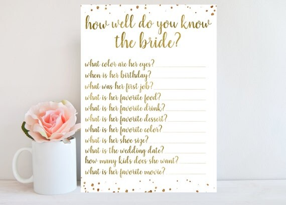 How Well Do You Know The Bride Bridal Shower Game Gold Gold