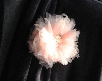 Peach tulle pin with rose detail