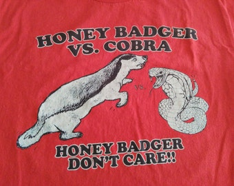 Funny 'Honey Badger vs. Cobra' T-Shirt, Red,  Large